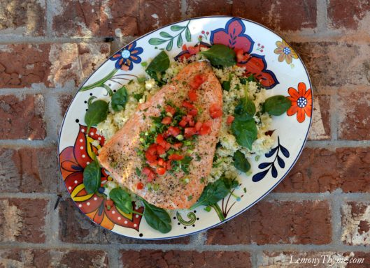 Garlic & Herb Baked Salmon over Spinach Couscous1