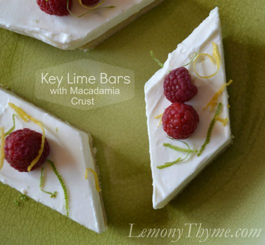 Key Lime Bars with Macadamia Crust from Lemony Thyme