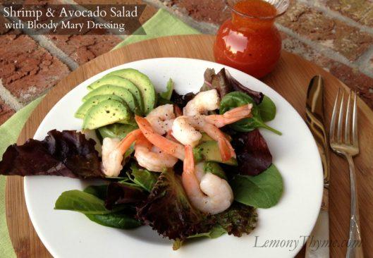 Shrimp & Avocado Salad with Bloody Mary Dressing from Lemony Thyme