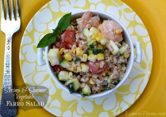 Shrimp & Summer Vegetable Farro Salad from Lemony Thyme