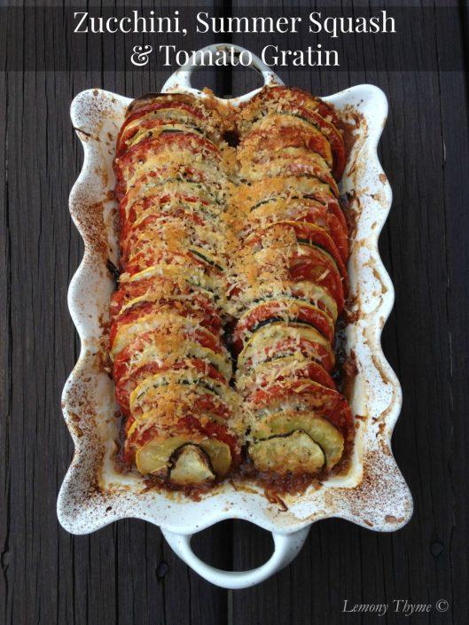 Zucchini Summer Squash & Tomato Gratin from Lemony Thyme