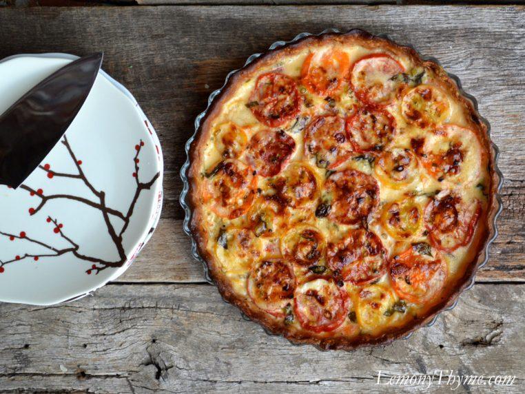 Tomato, Cheddar & Basil Pie