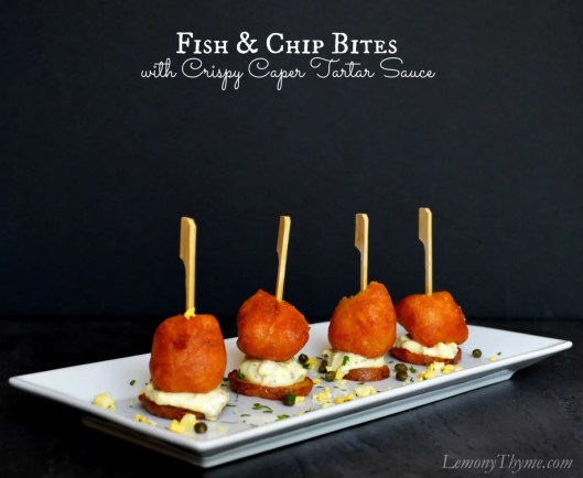 Fish & Chip Bites with Crispy Caper Tartar Sauce from Lemony Thyme