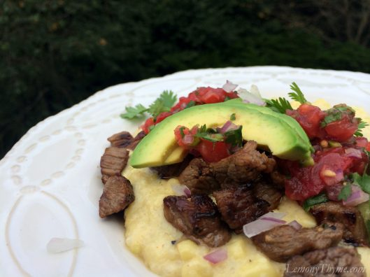 Carne Asada Marinated Beef Tips on Jalapeno Corn Grits3