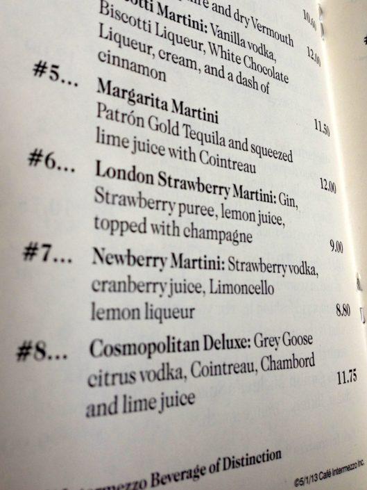 Cafe Intermezzo Martini Menu
