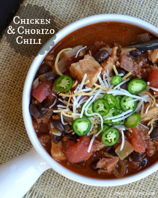 Chicken & Chorizo Chili | LemonyThyme.com