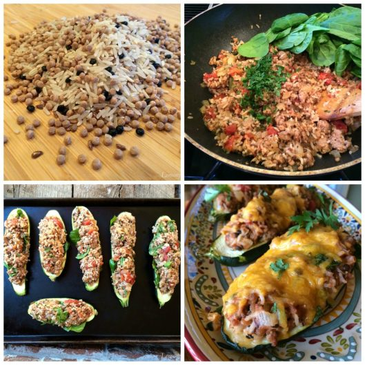 Italian Sausage Stuffed Zucchini Collage