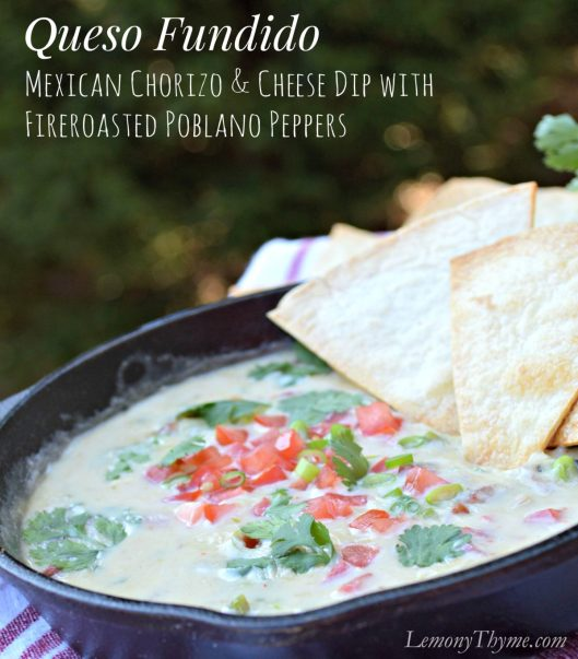 Queso Fundido with Fire Roasted Poblano Peppers from Lemony Thyme