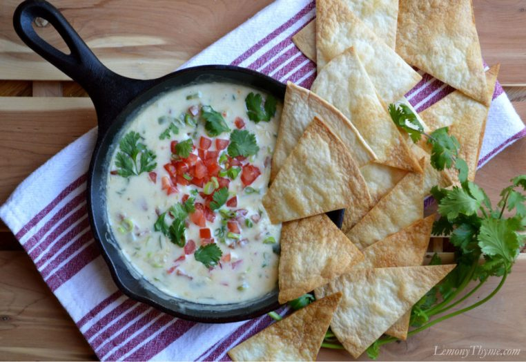 Queso Fundido with Fire Roasted Poblano Peppers