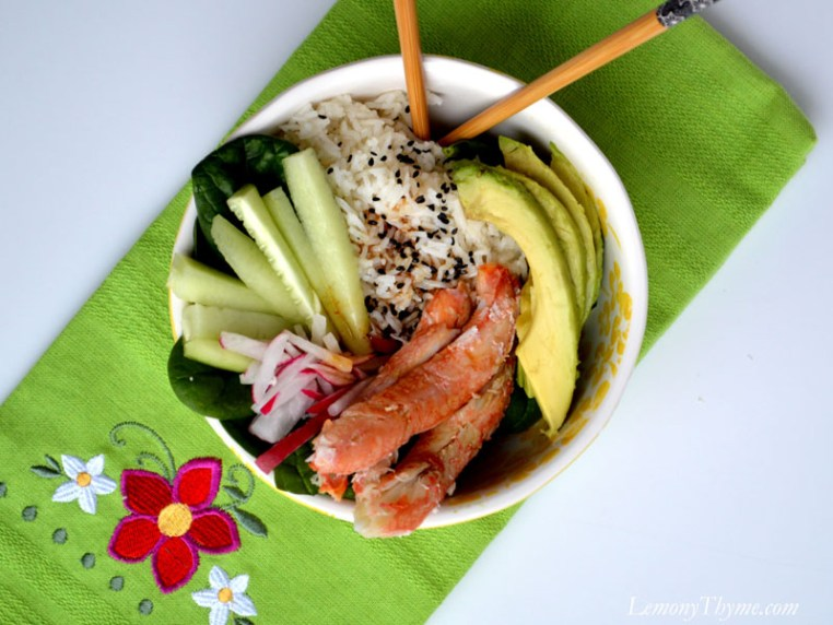 California Roll Lunch Bowl with crabmeat, avocado, cucumber, sesame rice.