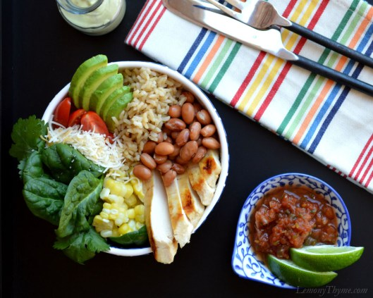 Healthy Southwest Burrito Bowl with grilled chicken, pinto beans, brown rice and lots of veggies.