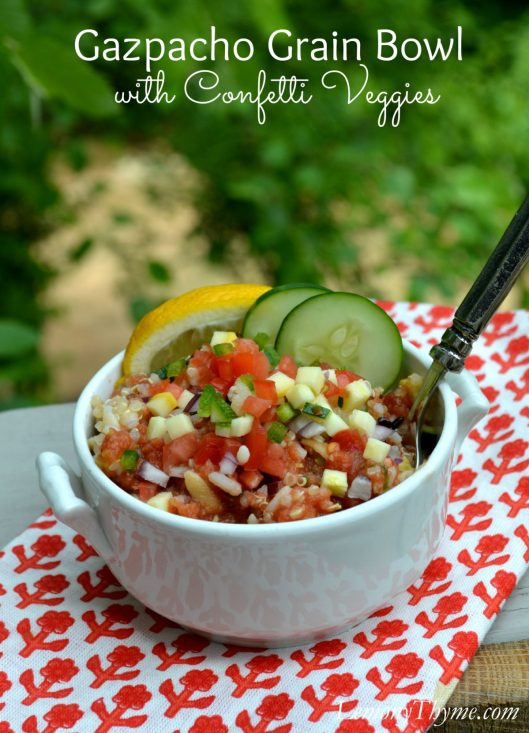 Gazpacho Grain Bowl with Confetti Veggies   LemonyThyme.com