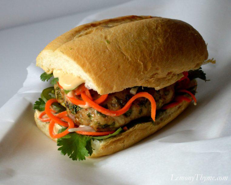 Vietnamese Chicken Banh Mi Sandwich   LemonyThyme.com