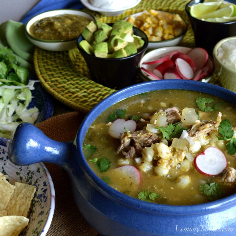 Pozole Verde with Flame Roasted Tomatillos, Poblano & Jalapeno Peppers