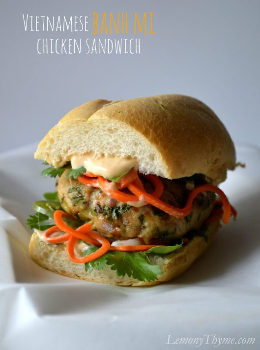 Vietnamese Banh Mi Chicken Sandwich LemonyThyme.com