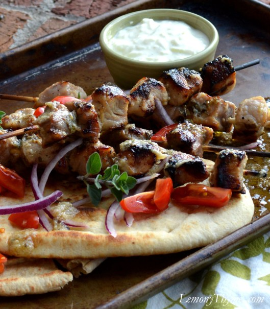 Pork Souvlaki with Tzatziki Sauce