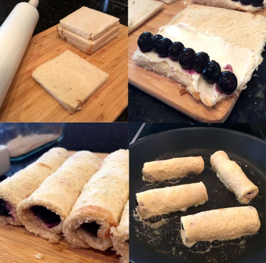 Blueberry Cream Cheese French Toast Roll Ups Steps