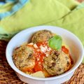 Eggplant Meatballs have a wonderful texture that is both 'meaty' and moist with fresh herbs smiling throughout.