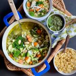 Spring Thyme Green Minestrone Soup is packed with nutrients and delicious veggies.