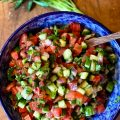 The colorful fresh tomatoes, cucumbers and red onion are precisely what makes Jerusalem Salad so special.
