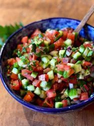 These colorful fresh ingredients and bright flavors are precisely what makes Jerusalem Salad so special.
