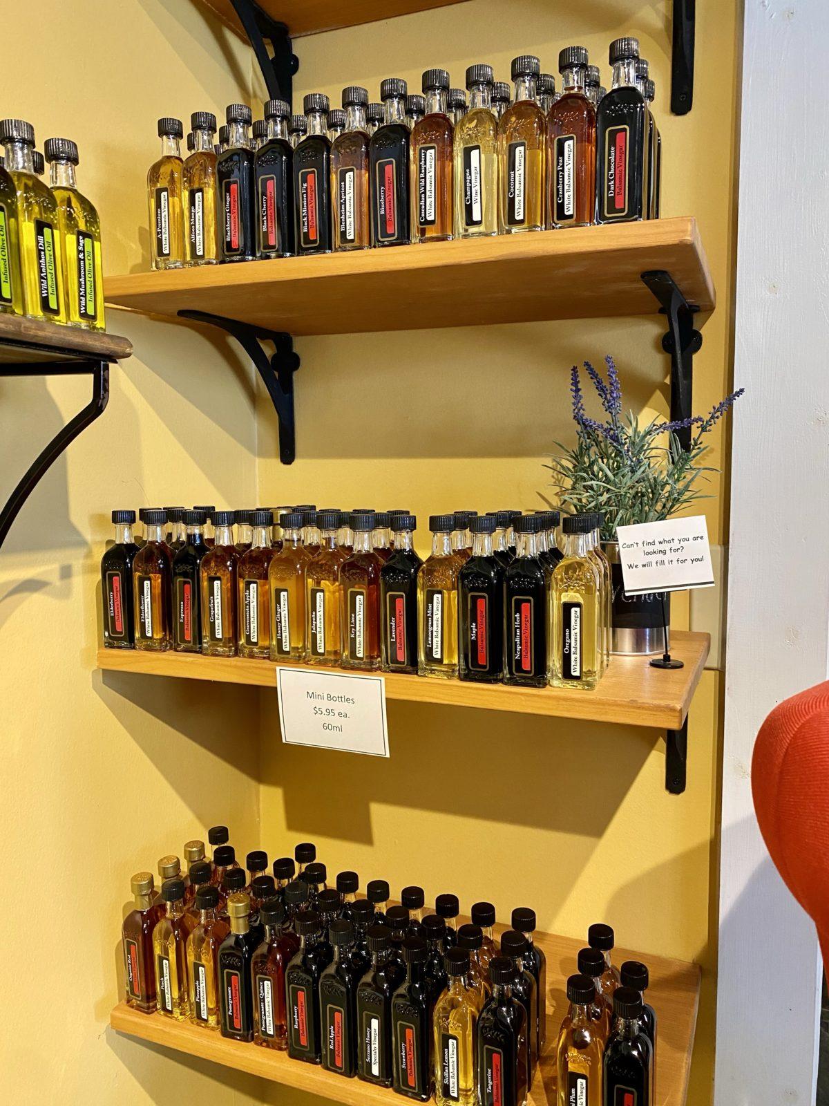 Olive Oil & Balsamic Tasting Store mini bottles