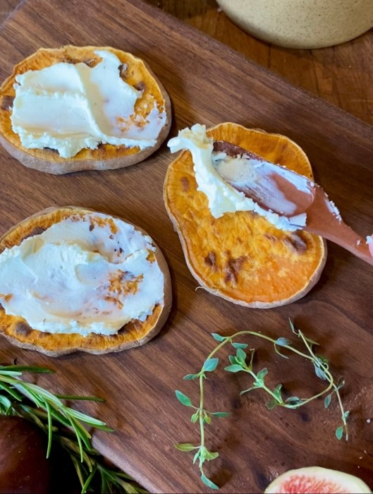 Three Roasted Sweet Potato Rounds with Mascarpone
