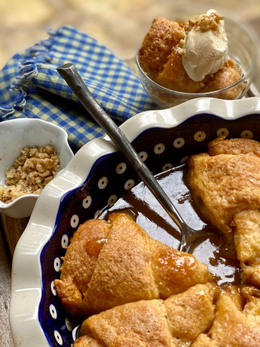 Easy Salted Caramel Apple Dumplings with vanilla ice cream