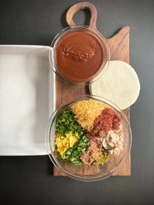 Loaded Easy Chicken Enchiladas Casserole Assembly
