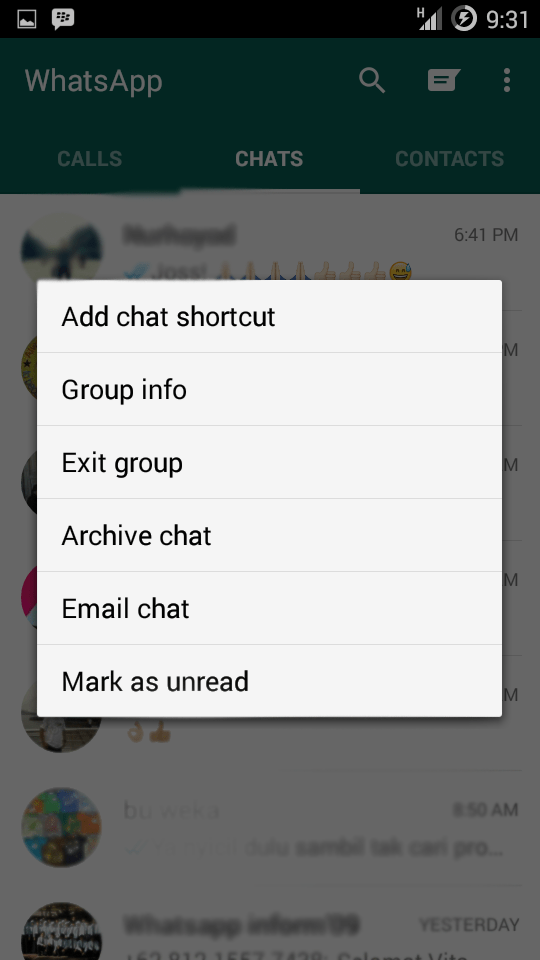 Membuat shotcut percakapan WhatsApp