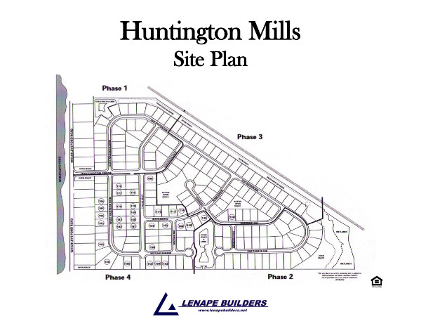 Community site plan huntington mills lenape builders for Share builders plan