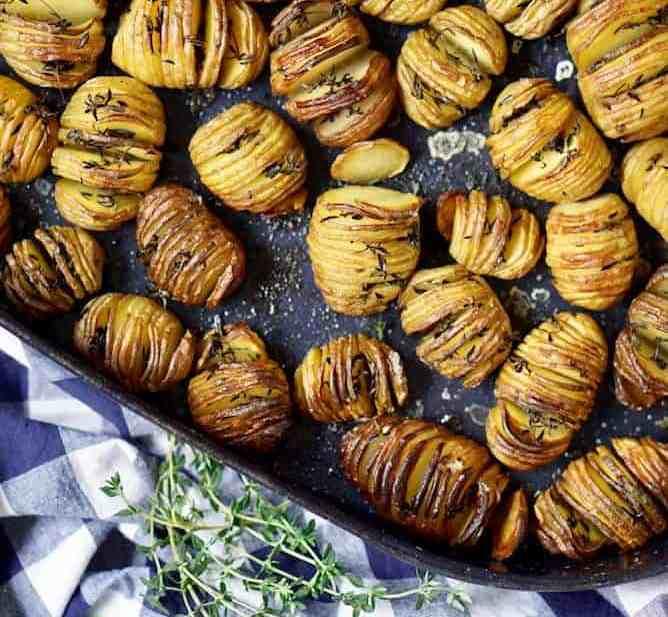 Mini hasselback potatoes with mustard sauce by lenaskitchenblog.com