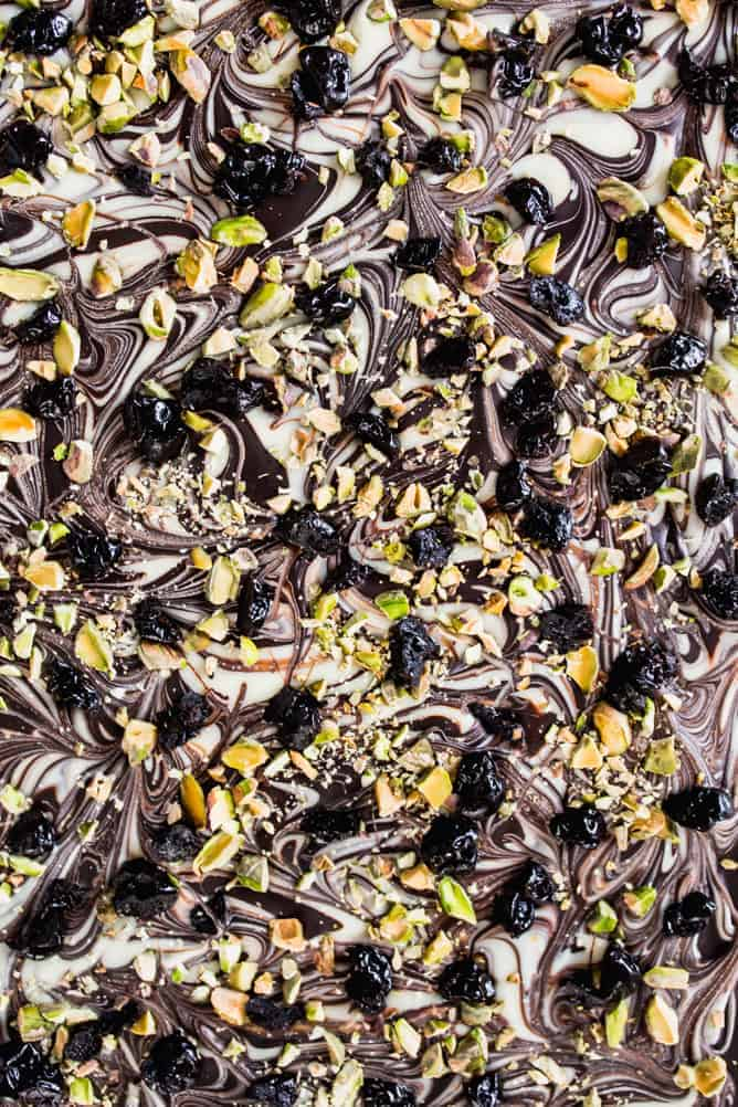 Chocolate Bark with Cherries and Pistachios