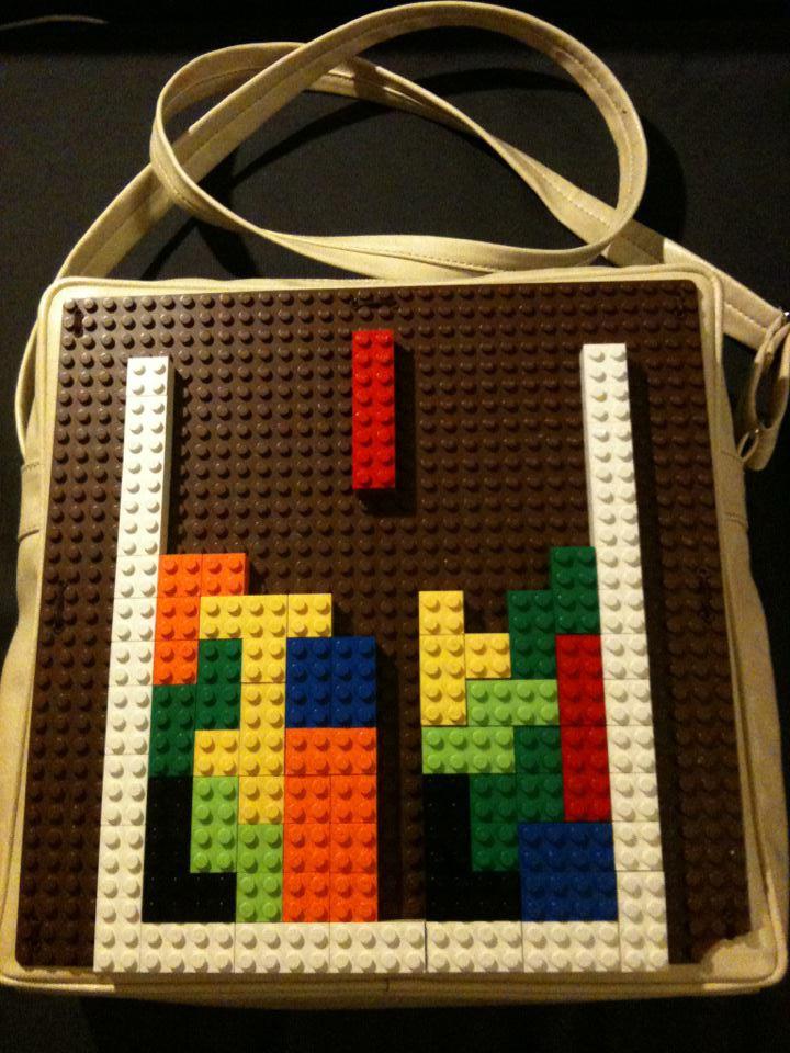 handbag with legos in tetris design