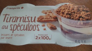 I like how the French like to add speculoos to everything. This product turned out to be a little disappointing. They just added a sachet of speculoos crumble to sprinkle over. I'd like to suggest speculoos based tiramisu instead. Hint: I'll visit in February.