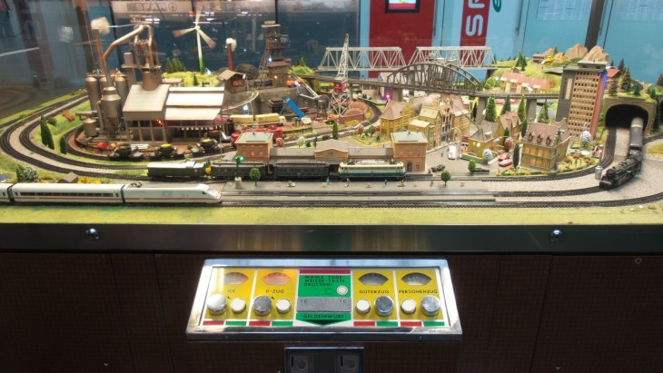 Model train at Frankfurt train station.