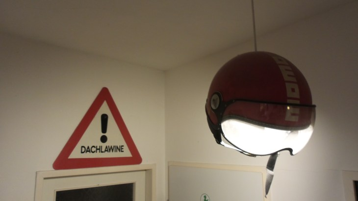 A lamp made from a crash helmet at our friend's place. Love the idea and execution!