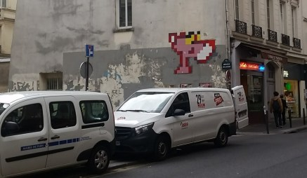 pixelated pink panther street art