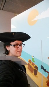 A selfie of Verena wearing a tricorne pirate hat