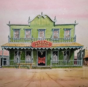A watercolor drawing of a wild west saloon