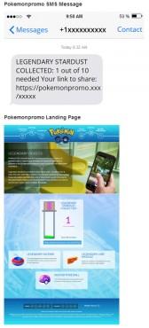 Captures du SMS et du site auquel renvoie le lien.
