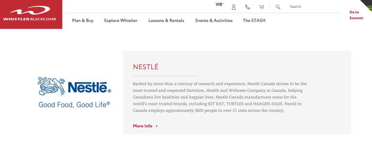 Do you think Nestle's tagline is align and genuine with their organization? Is their orgonization in accordance with Whistler Blackcomb's values?