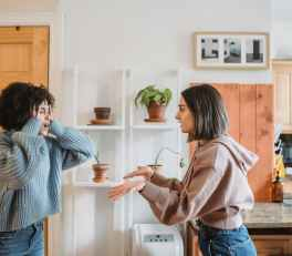 multiethnic women having conflict at home