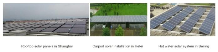 Solární panely na střechách výrobních zařízení.