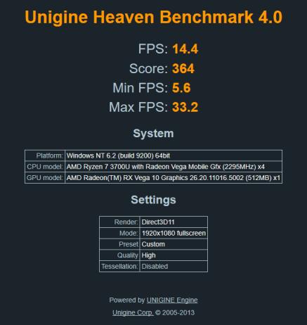 Unigine Heaven Benchmark high (IdeaPad S340-14IKB).
