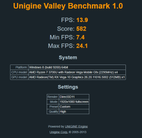Unigine Valley Benchmark high (IdeaPad S340-14IKB).