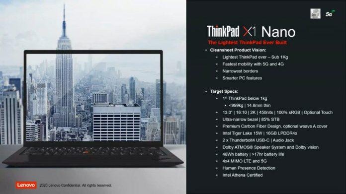 ThinkPad X1 Nano, specifikace. Zdroj: Twitter