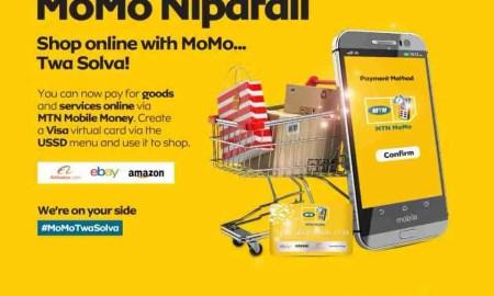 MTN MoMo can allow you to shop online through VISA