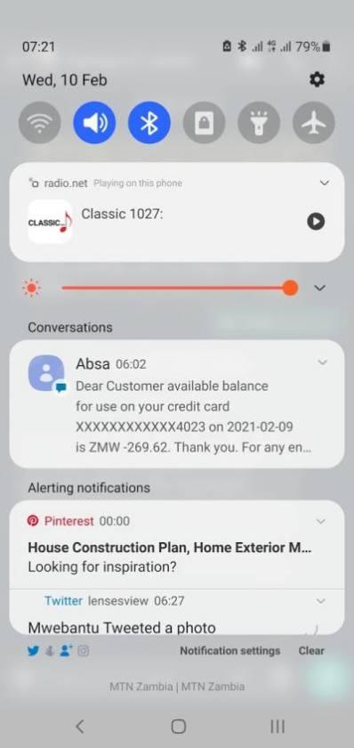 Samsung One UI 3 notification area design
