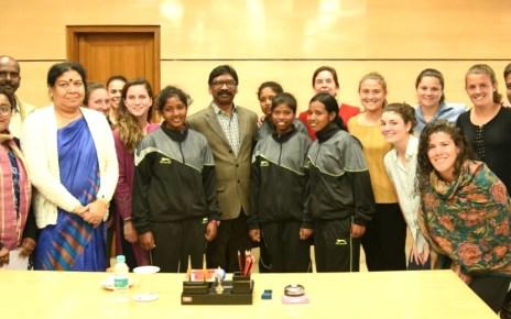 A delegation of usa middle beri college feild hockey and shaktivahini organisation met cm Jharkhand